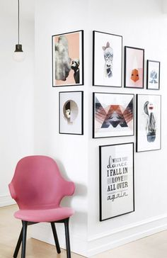 A photo gallery wall that goes round corners. The corner gallery wall with a pink chair for interest and to tie in colours. Interior Design Inspiration, Home Decor Inspiration, Design Ideas, Design Trends, Unique Wall Art, Home And Deco, Decor Room, Home And Living, Living Room