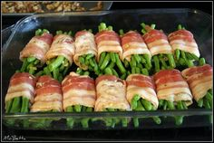 Bacon-Wrapped Green Beans: 1 hour at 375, cover beans with soy sauce, brown sugar and butter.