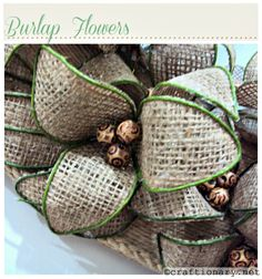 Burlap Wreath Craft   Burlap flowers are a great way to decorate at home They can become a ...