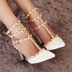 Casual Multi Strap Cut Out Rivets Women Shoes