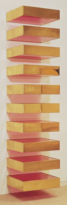 Untitled, Brass and colored fluorescent Plexiglas on steel brackets, 1969. Hirshhorn Museum and Sculpture Garden, Washington, D.C. 6 1/8″ x 2′ x 2′ 3″