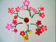 Handmade Floral Embellishments bright neon colors small by Wcards, $5.20