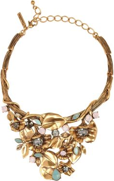 Oscar de la Renta Gold-plated crystal floral necklace on shopstyle.com