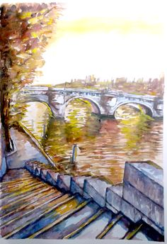 watercolor Paris seine