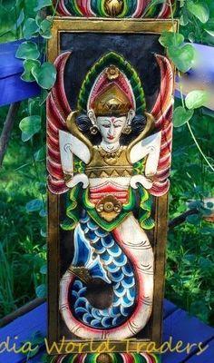 "Balinese Mermaid Relief Panel Balinese Hand Carved Wood Wall Bali Art 40"" #handmade Carved Wood Wall Art, Driftwood Wall Art, Hand Carved, Wood Sculpture, Wall Sculptures, Panel Wall Art, Touch Of Gold, Balinese, Wood Carving"