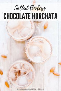 This creamy and rich salted chocolate horchata is incredibly easy and deliciously indulgent! Unlike other horchatas, this easy horchata recipe uses both rice and almonds, which gives a deeper and more complex nutty flavor. Make this horchata alcoholic by adding a splash of Baileys, taking this simple and rich drink recipe to another level. Cheers!