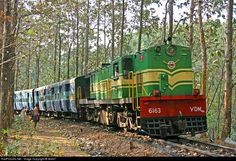 Once upon a time, This forest clearing was a Railway station. Edapalayam, Kollam, Kerala on the erstwhile MG Kollam - Tenkasi line. Seen is MG YDM4A 6163 with a passenger train