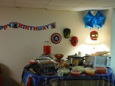 Stepson's 6th Birthday Party. Used his costume masks as decoration. Attached to wall with temporary hooks. Homemade Taco Party.  Party was a hit!
