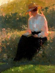 'Signora che legge alla luce mattutina' di Carl von Marr  (1858 – 1936)