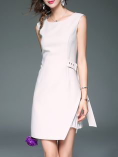 Shop Midi Dresses - White Sleeveless Plain Linen Sheath Midi Dress online. Discover unique designers fashion at StyleWe.com.