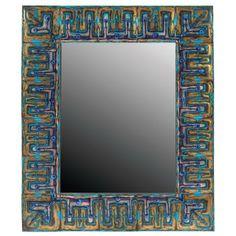 "Bodil Eje Emalje wall mirror, Denmark, rectangular form surrounded by colorful enamel on copper squares, signed with ""Bodil Eje Emalje Kobenhavn"" label, 20""w x 23.75""h"