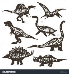 Dinosaurs black silhouettes set with lettering pterodactyl plesiosaur spinosaurus tyrannosaurus triceratops on white background isolated vector illustration