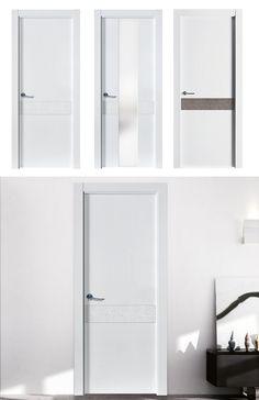 Puerta de Interior Blanca   Modelo ARIES de la Serie Imagin de Puertas Castalla. Puerta Lacada blanca con mármol y manilla Twist