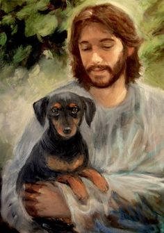 Jesus with Little Dachshund Dog by PrintsByShawn on Etsy Arte Dachshund, Dachshund Love, Daschund, Memes Arte, Pet Remembrance, Pictures Of Jesus Christ, Jesus Painting, Jesus Art, Biblical Art