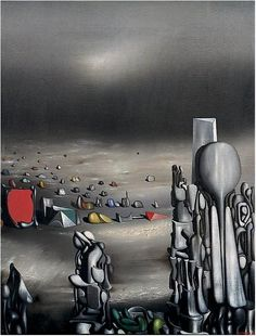 """surrealism: """"El saltimbanqui (Reste, el le faut) by Yves Tanguy, Oil on canvas. As far as I can figure out, the title is a combination of Catalan and French. Art Optical, Optical Illusions, Yves Tanguy, Hans Arp, Dali Paintings, Max Ernst, Rene Magritte, Surrealism Painting, Italian Painters"""