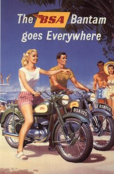 You mean everywhere? Is that a shoe store? - Vintage BSA Bantam Motorcycle Ad! -