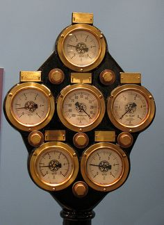 An interesting old panel of gauges used to monitor a boiler on a fishing trawler. Arte Steampunk, Steampunk Design, Steampunk Costume, Steampunk Machines, Instruments, Leagues Under The Sea, Maritime Museum, Steam Engine, Boiler