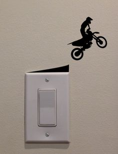 Motocross Racer Jumping Straight Off Ramp on Light Switch - .- Motocross riders jump off ramp from DecalPhanatics - Wall Painting Decor, Diy Wall Decor, Home Decor, Wall Stickers, Wall Decals, Wall Drawing, Painted Boards, Paint Designs, Wall Design