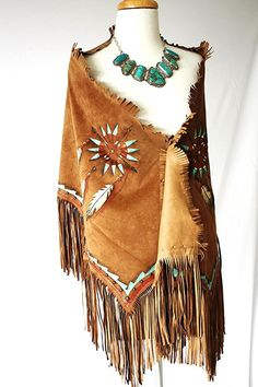 "Patricia Wolf ""Indian Nation"" Suede Hand Painted Shawl!"