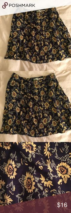 Floral skater skirt Navy with sunflowers, high waisted skater skirt from Urban outfitters Urban Outfitters Skirts