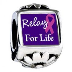 Relay For Life Photo Flower Charms  Fit pandora,trollbeads,chamilia,biagi,soufeel and any customized bracelet/necklaces. #Jewelry #Fashion #Silver# handcraft #DIY #Accessory