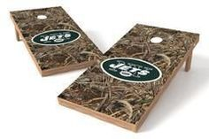 New York Jets Single Cornhole Board - Realtree Max-5® Camo