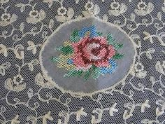 Antique Petitpoint Roses Normandy Lace Table Doily Tray Cloth | eBay Vintageblessings