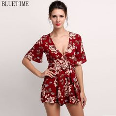 Red Short Length ...  ...  Buy it now to avail 10% discount .. Get it now!!   http://shop.mustified.com/products/summer-2017-womens-romper-shorts-one-piece-jumpsuit-sexy-short-sleeve-floral-zip-high-waist-playsuit-rompers-womens-jumpsuit?utm_campaign=social_autopilot&utm_source=pin&utm_medium=pin