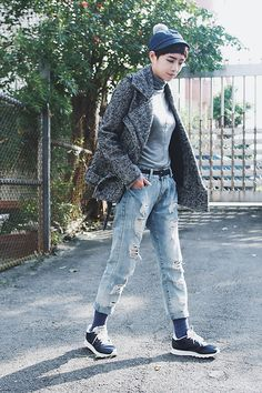 Blue Asmat Hat by COSTO by Petrina Hsieh. More of her looks: http://lb.nu/user/5274128-Petrina-H  #casual #chic #street