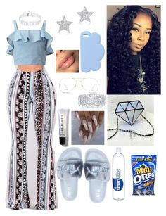 A fashion look from June 2017 featuring ruffle crop top, flat mules shoes and white gold jewelry. Browse and shop related looks. Bad Girl Outfits, Boujee Outfits, Cute Lazy Outfits, Baddie Outfits Casual, Swag Outfits For Girls, Teenage Girl Outfits, Cute Swag Outfits, Curvy Outfits, Dope Outfits