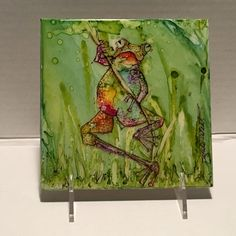 Watercolor Of Frog, Alcohol Ink Art on tile, Ink Art , Alcohol Ink Painting of…