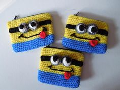 Crochet Minion Inspired coin purse. They zip up and are lined with fabric!