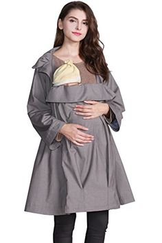 Sweet Mommy Maternity and Nursing Trench Coat Grege M Grey Pregnancy Outfits, Pregnancy Tips, Trench, Nursing, Organic Cotton, Maternity, Note, Amazon, Grey