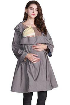 #OrganicCotton Pregnancy Outfits, Pregnancy Tips, Trench, Nursing, Organic Cotton, Maternity, Note, Amazon, Grey