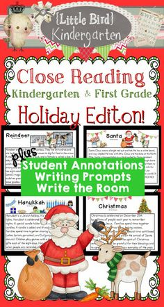 Close Reading for Kindergarten & First Grade: The Holiday Edition! 4 Holiday passages with writing extensions and activities, Academic holiday fun!! $