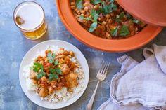 Easy Crock Pot Moroccan Chicken, Chickpea And Apricot Tagine Recipe - Genius Kitchen Moroccan Spices, Moroccan Chicken, Tostadas, Tagine Cooking, Chicken Chickpea, Achiote, Tagine Recipes, Ras El Hanout, Beltane