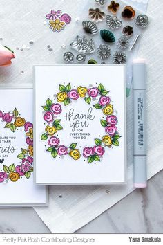 PPP Bold Blossoms stamp set. Used outline stamps and colored w Copic Markers. I used the following colors: YG67, YG17, YG03 – to color leaves; RV14, RV13, RV10 to color pink flowers; Y19, Y15 and Y13 – to color yellow flowers.