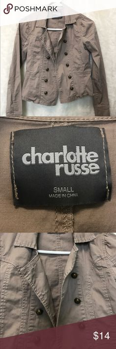 Military Styled Brown Khaki Jacket Small Button Up Charlotte Russe military styled brown khaki Button Up jacket. No noted defects. 🚫No trades ✅Reasonable offers submitted though offer button accepted. 🚭Smoke free home💌Laundered before shipped Charlotte Russe Jackets & Coats
