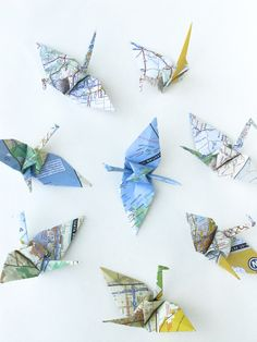 Small Geographic Origami Cranes Migration by pipodoll