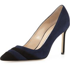 Manolo Blahnik BB Two-Tone Suede Pump, Navy/Black ($745) ❤ liked on Polyvore featuring shoes, pumps, black shoes, suede pointy toe pumps, black pumps, navy suede pumps and navy pumps