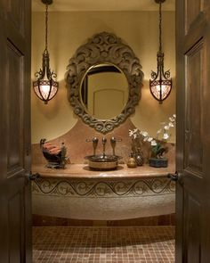 beautiful spanish style homes Spanish Style Bathrooms, Spanish Style Homes, Mexican Home Decor, Tuscan Design, Tuscan Style, Bathroom Styling, Bathroom Ideas, Restroom Ideas, Bathroom Storage