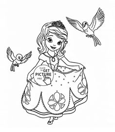 Sofia the First with birds coloring page for kids, disney for girls coloring pages printables free - Wuppsy.com