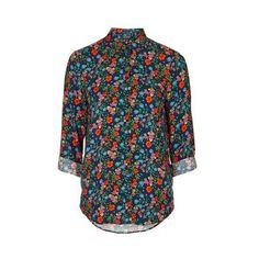 TopShop Casual Print Pop Ditsy Shirt (£20) ❤ liked on Polyvore featuring tops, multi, button up shirts, loose shirts, rayon shirts, button down shirt and rayon tops