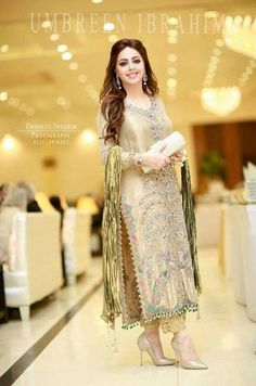 spotted looking stunning in a gold tissue signature ensemble. Pakistani Formal Dresses, Pakistani Dress Design, Pakistani Outfits, Indian Dresses, Pakistani Couture, Party Wear Dresses, Indian Designer Wear, Indian Designers, Indian Fashion