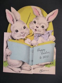 Vtg 1930 50's Easter Greeting Card Rabbits Reading Book Bunny Die Cut   eBay