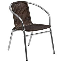 Aluminum and Dark Brown Rattan Commercial Indoor-Outdoor Restaurant Stack Chair