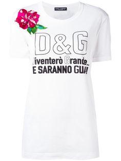 DOLCE  amp  GABBANA Flower Applique Logo T-Shirt.  dolcegabbana  cloth   007b8a847c6a