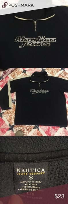 Nautica Jeans Polar Fleece x 1/4 Zip Size L x excellent condition  no rips or stains x navy and off white colors nautica jeans Shirts Sweatshirts & Hoodies