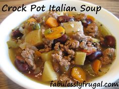 Crock Pot Italian Soup recipe - Ground turkey, veggies, and beans Freeze some of the cut veggies ahead of time. No serving size stated. Crock Pot Slow Cooker, Crock Pot Cooking, Slow Cooker Recipes, Crockpot Recipes, Cooking Recipes, Healthy Recipes, Cooking Ideas, Yummy Recipes, Eating Clean