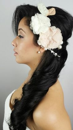 Cream and White Floral Headband